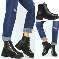 Womens Ladies Ankle Boots Biker Army Lace Up Combat Block Heel Black Shoes Size