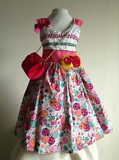 Pink Girls Dress Size 3T Cotton Taffeta Floral Sequins Birthday Pageant Formal