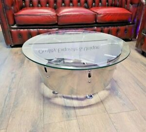 Bespoke genuine Red Arrows chromed exquisite coffee table aviation part aircraft
