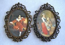 TWO VINTAGE BRASS  ITALY VICTORIAN ORNATE OVAL FRAMES/WALL HANG BOY & LOVERS