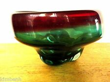 Beautiful Red & Green Heavy Glass Vase Signed & Numbered Kingwell Icefire