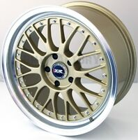 "XXR 521 18"" x 8.5J ET25 5x114 GOLD POLISHED WIDE RIMS ALLOYS WHEELS SET x4 Z1948"