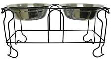 Large 5 Quarts Double Wrought Iron Dog Feeder Dishes Steel Food Water Bowl-888