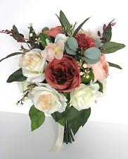 Wedding bouquet 17 piece set Bridal Silk Flower set RUST PEACH BLUSH Vintage