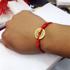 Unisex Men Women Feng Shui Red String Lucky Coin Charm Bracelet Good Luck Wealth