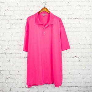 Peter Millar Men's Summer Comfort Golf Polo Shirt Pink Poly Size 3XLT tall
