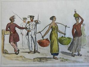 Sulu Philippines Soldiers Male & Female Fashion 1839 Malay French ethnic view