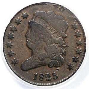 1825 ANACS VG 8 Dbl Struck Classic Head Half Cent Coin 1/2c