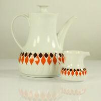 Kaffee & Milch Kanne Thomas Porzellan Service Lanzette orange & braun T Wirkkala