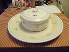 """CALECA GIARDINO 16"""" WIDE PLATTER WITH COVERED DISH MADE IN ITALY- HAND PAINTED"""