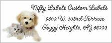 Kitty Cat Amp Puppy Friends Design 12 Return Address Labels Glossy Amp Matte