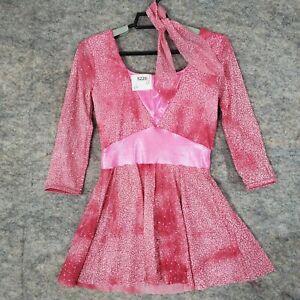 A Wish Come True Dance Costume Medium Adult Pink Sparkle Hey Mr DJ Shorts Dress