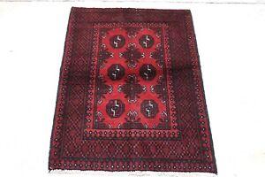 Genuine Afghan Aqcha - Hand Knotted Red & Black Bokhara Wool Small Rug 80x111 cm