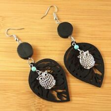 Black Lightweight Leaf Wood Dangle Earrings with Tibetan Silver Owl #1889