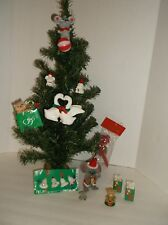 LOT 15~FLOCKED ORNAMENTS~VTG TO NOW~KISSING DUCKS, CHRISTMAS MOUSE,CAT,BEAR,MORE