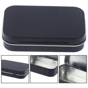 Storage Box Small Jewelry Candy Coin Key Organizer Tin Flip Black Gifts Seale^YA