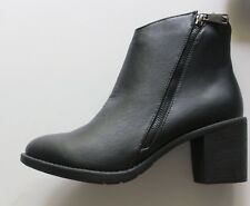 New Women's HOT KISS Renee Black Ankle Block Heel Boots Size 8.5