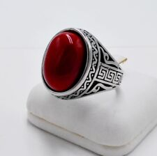 MEN RING RED CORAL SYN STAINLESS STEEL SILVER TURKISH OTTOMAN SOLITAIRE BIG # 11