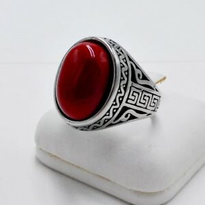 MEN RING RED CORAL SYN STAINLESS STEEL SILVER TURKISH OTTOMAN SIGNET OVAL # 11