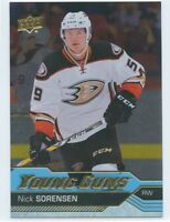 16/17 UPPER DECK YOUNG GUNS SILVER FOIL ROOKIE RC #203 NICK SORENSEN DUCKS 49950