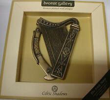 IRELAND BRONZE PLATED WALL PLAQUE THE IRISH HARP CELTIC SHADOWS CELTIC DESIGN