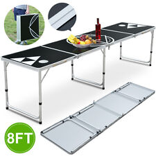 8' Portable Beer Pong Table Outdoor Garden Game Table With Aluminum Frame