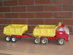 vintage tonka tip truck and trailer