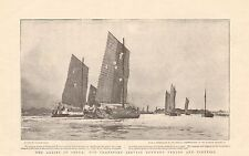 1901 ANTIQUE PRINT - ALLIES IN CHINA-TRANSPORT SERVICE BETWEEN  PEKING AND TIENT