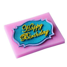 Happy Birthday silicone mold chocolate fondant cake decor Tools baking utensil F