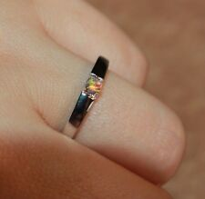 fire opal ring gemstone silver jewelry 6.5 7.5 delicate wedding engagement band
