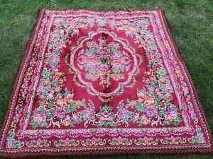 Vintage velvet bed cover, large velvet bedspread