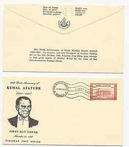 PAKISTAN 1963 KEMAL ATATURK 4 FDC'S  SCOTT # 185 AND POSTAL  BROCHURE FREE SHIP