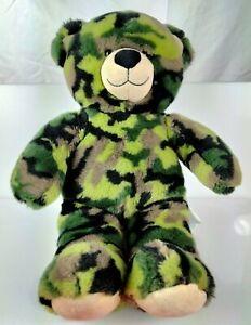 "Build a Bear Green Camo Camouflage Plush 16"" Green Stuffed Animal BABW"