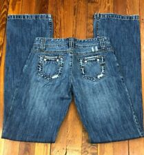 Younique Distressed Jeans Juniors Size 1 Straight Leg Slight Boot Whiskered