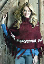 ~ Knitting Pattern For Lady's Fair Isle Border Poncho ~