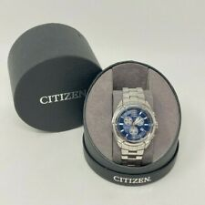 Citizen AT0981-52L Stainless Steel Eco-Drive Blue Dial Chronograph Men's Watch