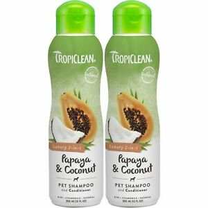 2 x TropiClean Papaya & Coconut Luxury 2-in-1 335ml Pet Shampoo and Conditioner