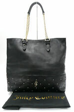 JUICY COUTURE Signature Logo Tomi Frankie Leather BLACK TOTE HANDBAG PURSE NWT
