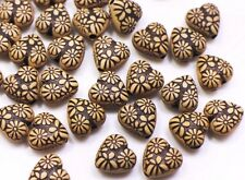 Bohemian Heart Bead Brown Heart-shape Floral Flower Pattern Tribal 12mm 20pcs