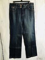 Eddie Bauer Womens Size 10 Blue Jeans Curvy Boot Cut Dark Wash Stretch Denim