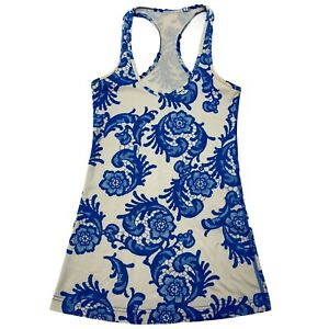 Lululemon Free To Be Me Blue White Floral Racerback Tank Top Womens Sz 2