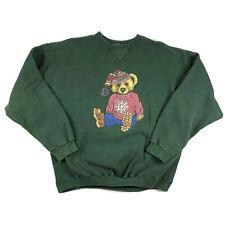 Vintage Ugly Christmas Sweatshirt Jingle Bell Polo Bear Size Large Tulex Green