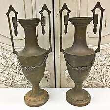 Antique French Pair of Copper Cassolettes Vases Urns Garnitures - TM528