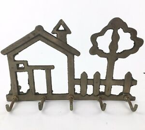 Vintage Solid Brass House And Tree 5 Hook Key Holder Hook Wall Mount AB