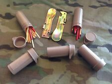 5 Australian Army Ration Pack Bottles Auscam Survival Matches + 2 Can Tin Opener