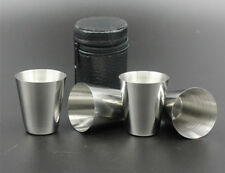 Stainless Steel Shot Glass Cup Drinking Mug w/PU Leather Cover Case Travel 4pcs