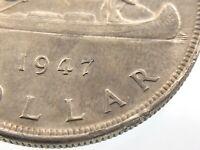 1947 Blunt 7 Canada One 1 Dollar Circulated George V Canadian Coin R143