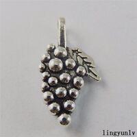 50922 Antique Silver Alloy Mini Fruit Grapes Charms Pendant Finding Crafts 49pcs