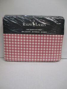 New Ralph Lauren Medium Gingham Pink Plaid Checked Flat Sheet - Queen