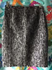 NWT Womens Ann Taylor Black/Silver Textured Tweed Lined Pencil Skirts Size 4